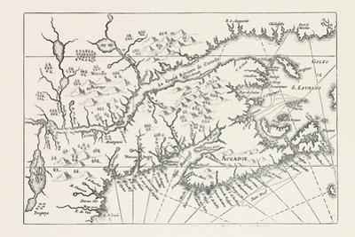 Map of Canada and Nova Scotia, from Joannes De Salt's America Utriusque Descriptio, 1633, 1870S