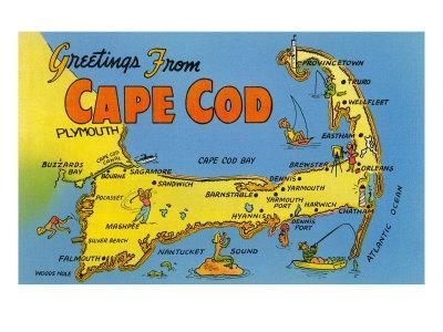 picture about Printable Map of Cape Cod referred to as Map of Cape Cod, Machusetts Artwork Print as a result of