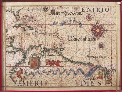 Map of Caribbean, Antilles and Northern South America-Diego Homen-Giclee Print