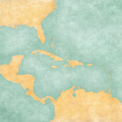 Map Of Caribbean - Blank Map (Vintage Series)-Tindo-Art Print