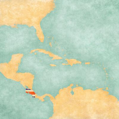 photograph relating to Printable Map of Costa Rica called Map of Caribbean - Costa Rica (Typical Sequence) Artwork Print as a result of Tindo
