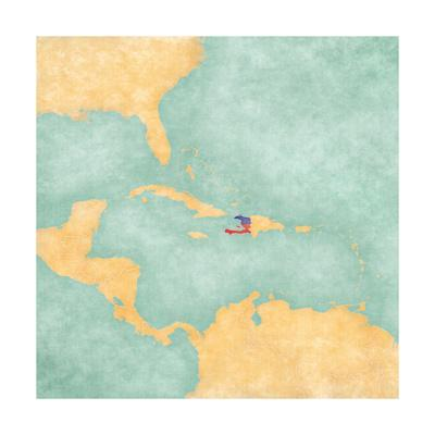 Map Of Caribbean - Haiti (Vintage Series)-Tindo-Art Print