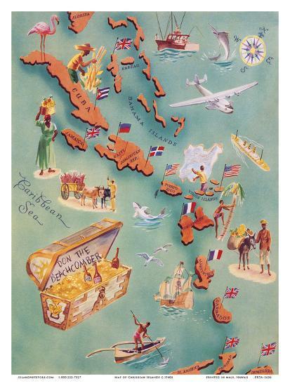Map of Caribbean Islands - Bahama Islands - U.S. Virgin Islands - Menu  Cover Rum Drink List - Don t Art Print by | Art.com