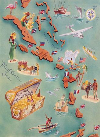 Map of Caribbean Islands - Bahama Islands - U.S. Virgin Islands - Menu Cover Rum Drink List - Don t