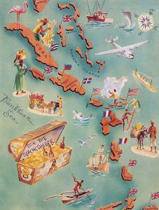 Map of Caribbean Islands - Bahama Islands - U.S. Virgin Islands