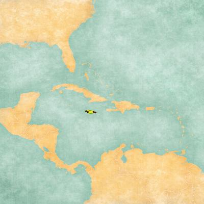 Map of Caribbean - Jamaica (Vintage Series)-Tindo-Art Print