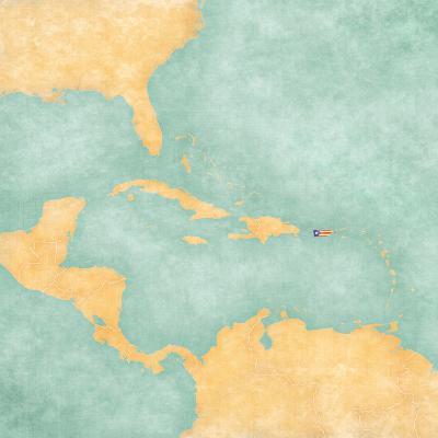 Map of Caribbean - Puerto Rico (Vintage Series)-Tindo-Art Print