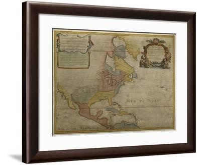 Map of Central and North America, Published in 1700, Paris-Guillaume Delisle-Framed Giclee Print