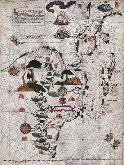 Map of Central and Southern America and Cuba, Hispaniola and Puerto Rico Islands-Lazaro Luis-Giclee Print