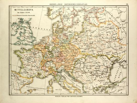 Map of Central Europe in 1650 Giclee Print by | Art.com