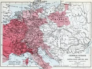 Map of Central Europe Showing Napoleon's Empire in 1810