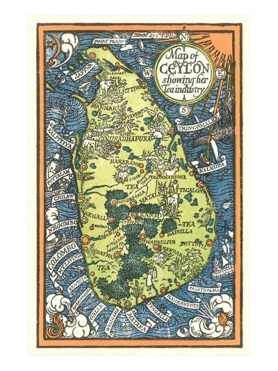 Map of Ceylon Tea Industry Sites--Art Print