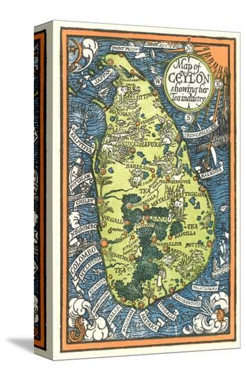 Map of Ceylon Tea Industry Sites--Stretched Canvas Print