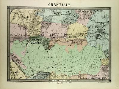 Map of Chantilly, France--Giclee Print