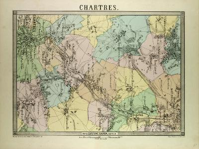 Map of Chartres France--Giclee Print