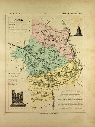 Map of Cher France--Giclee Print