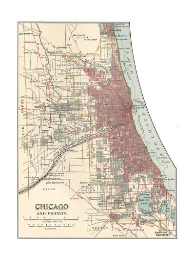 Map of Chicago (C. 1900), Maps-Encyclopaedia Britannica-Giclee Print