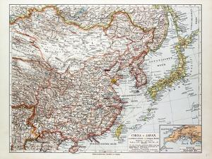 Map of China Mongolia and Japan 1899