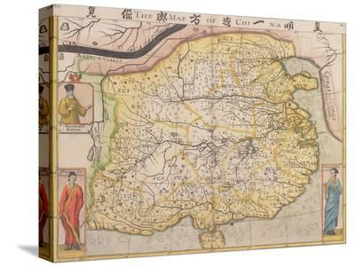 Map of China with Inset Portraits of Matteo Ricci and Two Chinese Costumed Figures, circa 1625-26-Samuel Purchas-Stretched Canvas Print