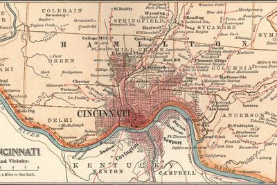 Map of Cincinnati, Ohio (C. 1900), Maps Giclee Print by ...