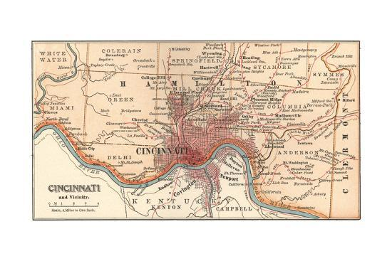 Map of Cincinnati, Ohio (C. 1900), Maps Giclee Print by Encyclopaedia Cincinnati Maps on midwest map, cleveland map, ohio map, columbus map, new orleans map, nyc map, masury map, ohio river, downtown cincinnati, indianapolis map, st. louis map, cincinnati/northern kentucky international airport, chicago map, university of cincinnati, milwaukee map, kentucky map, cincinnati bengals, hamilton county neighborhood map, fairfield map, pittsburgh map, cincinnati reds, jakarta map, minneapolis map, john a. roebling suspension bridge, montgomery oh map, maine map, los angeles map, hamilton county,