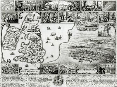Map of Civil War England and a View of Prague, 1632-Wenceslaus Hollar-Giclee Print