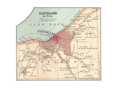 Map of Cleveland (C. 1900), from the 10th Edition of Encyclopaedia Britannica, Maps-Encyclopaedia Britannica-Giclee Print