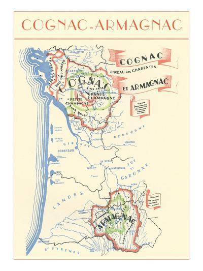 Map of Cognac-Armagnac Region--Art Print