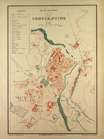 Map of Constantine, France--Giclee Print
