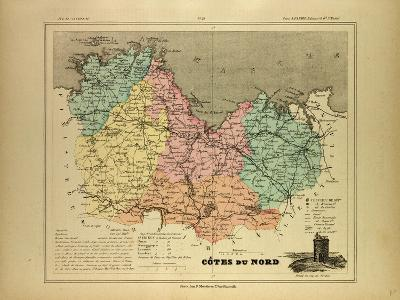 Map of Côtes Du Nord France--Giclee Print