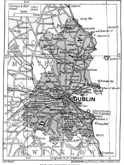Map of County Dublin, Ireland, 1924-1926--Giclee Print