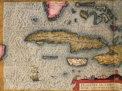 Map of Cuba and Jamaica, from Theatrum Orbis Terrarum by Abraham Orteliused in Antwerp, 1570--Giclee Print