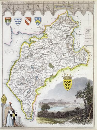 Map of Cumberland, from 'Moule's English Counties', c.1836-Thomas Moule-Giclee Print