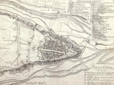 Map of Cuneo and its Fortification, Piedmont Region, 1744--Giclee Print