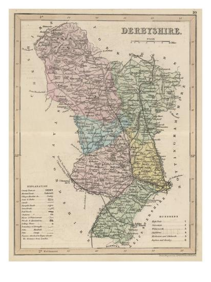Map of Derbyshire--Giclee Print