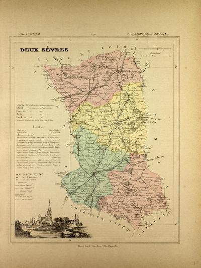 Map of Deux Sèvres, France--Giclee Print