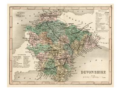 Map of Devon--Giclee Print
