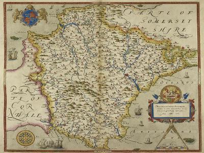Map Of Devon-Christopher Saxton-Giclee Print
