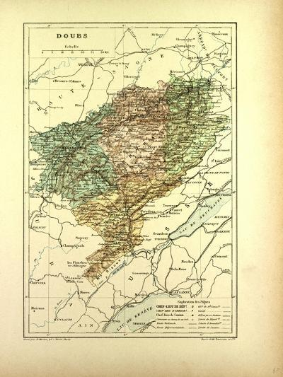 Map of Doubs France--Giclee Print