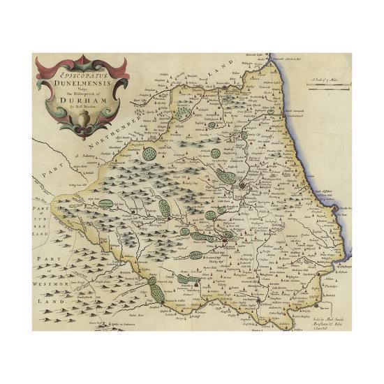 Map of Durham-Robert Morden-Giclee Print