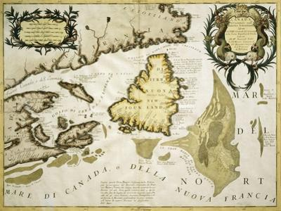 Map of Eastern Canada and Newfoundland, 1692