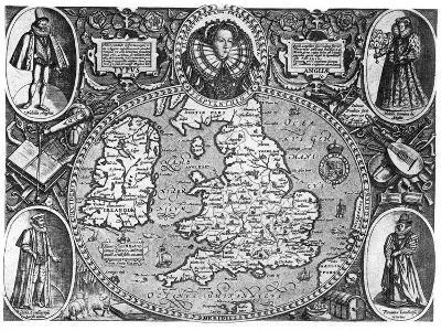 Map of England, 16th Century--Giclee Print