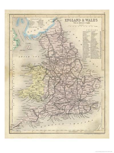 Map of England and Wales Showing Railways and Canals-James Archer-Premium Giclee Print