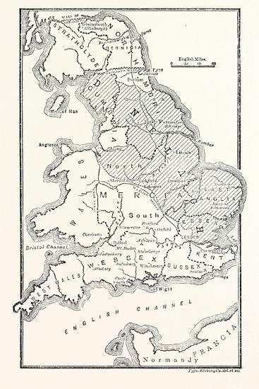 Map of England Showing the Anglo-Saxon Kingdoms and Danish Districts--Giclee Print