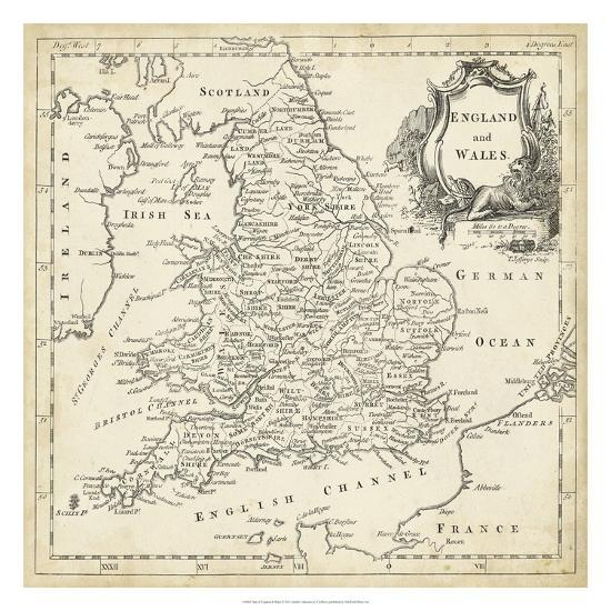 Map of England & Wales Giclee Print by T. Jeffreys | Art.com Printable Maps Of England on