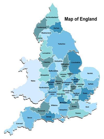 Map Of England-Vlada13-Art Print