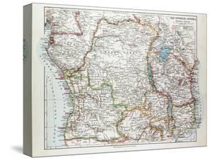 Map of Equatorial Africa the Republic of Mozambique the Republic of Angola Uganda Kenya 1899