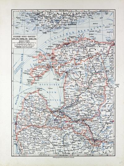 Map of Estland Letland Lithuania 1899--Giclee Print