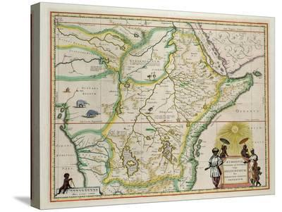 """Map of Ethiopia Showing Five African States, c.1690 G. Blaeu's """"Grooten Atlas"""" of 1648-65--Stretched Canvas Print"""