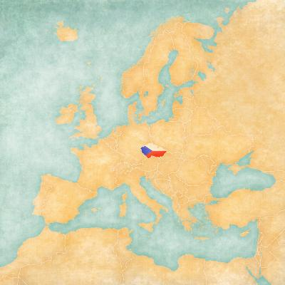 Map of Europe - Czech Republic (Vintage Series)-Tindo-Art Print
